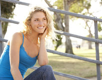 Teenage Girl Sitting On Steps Stock Images