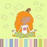 Teenage girl sitting at the yoga pose lotus. Royalty Free Stock Photography
