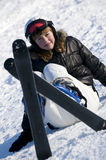 Teenage girl on ski Royalty Free Stock Photos
