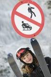 Teenage girl on ski Stock Photos