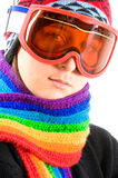 Teenage girl with ski goggles Stock Image