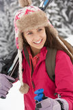 Teenage Girl On Ski Holiday In Mountains Stock Photography