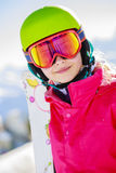 Teenage girl skiing in Swiss Alps. Teenage girl skiing in Swiss Alps in Sunny Day Royalty Free Stock Images