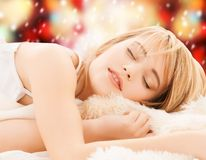 Teenage girl sleeping at home Royalty Free Stock Photo