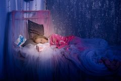 Teenage girl is sleeping sweetly, Christmas Stock Photos