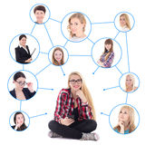 Teenage girl with smart phone and her social network isolated on Royalty Free Stock Photography