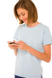 Teenage girl with smartphone Stock Photo