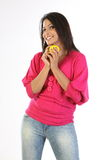Happy woman with ball Stock Photo
