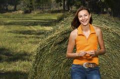 Teenage girl smiling outside Stock Image