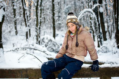 Teenage girl in the snow Stock Photography