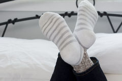 Teenage Girl Socks with Legs Crossed Closeup Royalty Free Stock Image