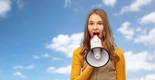Free Teenage Girl Speaking To Megaphone Stock Images - 172888454