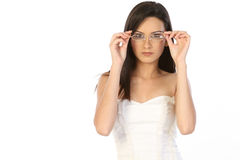 Teenage girl with specs. Teenage girl with beautiful glasses Royalty Free Stock Photography