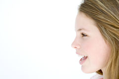 Teenage girl standing with mouth open Royalty Free Stock Photo