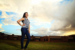 Teenage Girl Student on School Lawn Stock Images
