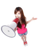 Girl student shouting through megaphone. Teenage girl student shouting through megaphone in full length, isolated on white background, high angle view, asian Stock Photos