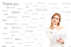 Teenage girl study different world languages Stock Photo