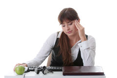 Teenage girl studying at the desk Royalty Free Stock Image