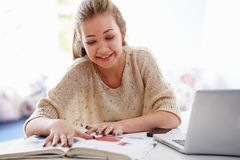 Teenage Girl Studying On Laptop At Home Stock Image