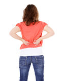 Teenage girl suffers from backache Stock Photo