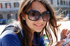 Teenage girl in sunglasses Stock Photo