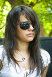 Teenage girl with sunglasses Stock Photos