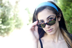 Teenage girl with sunglasses Stock Photography