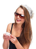 Teenage Girl with Sunglasses on Mobile Phone Royalty Free Stock Image