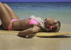 Teenage girl with surfboard Royalty Free Stock Photo