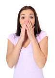 Teenage girl with surprised expression Royalty Free Stock Photo