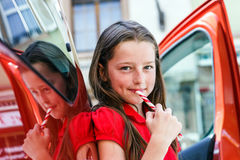 Teenage girl with sweet candy Stock Photo
