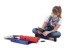 Teenage girl with tablet pc and mobile phone Royalty Free Stock Photo