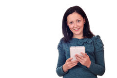 Teenage girl with tablet pc on white Stock Photos