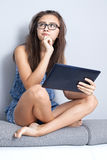 Teenage girl with tablet. Royalty Free Stock Photos