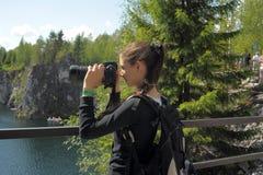 Teenage girl taking photos Stock Photos