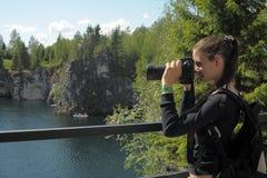 Teenage girl taking photos Royalty Free Stock Image