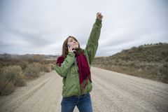 Teenage girl talking on a cell phone Stock Photography