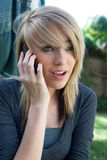 Teenage Girl Talking on Mobile Cell Phone Stock Photography