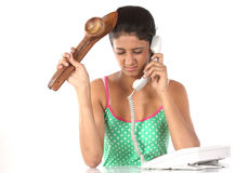 Teenage girl talking over telephon Stock Photography