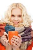 Teenage girl with tea or coffee mug Stock Photography