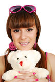 Teenage girl with teddy-bear Stock Photography