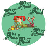 Teenage Girl Telephone Shadow Visual Game. Solution No.5. Royalty Free Stock Images