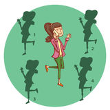 Teenage Girl Telephone Shadow Visual Game. Solution No.1 Stock Photo