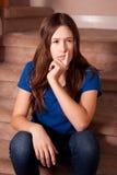 Teenage girl thinking Royalty Free Stock Photos
