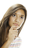 Teenage Girl Thinking on White Background Royalty Free Stock Photo