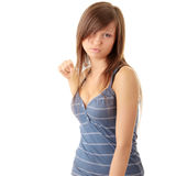 Teenage girl throwing a punch Royalty Free Stock Images