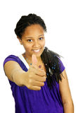 Teenage girl thumbs up royalty free stock image