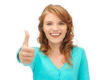 Teenage girl with thumbs up Stock Photos