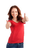 Teenage girl thumbs up Royalty Free Stock Photos