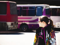 Teenage girl to be at bus station Royalty Free Stock Images